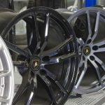 Rims for sale at an auto parts store