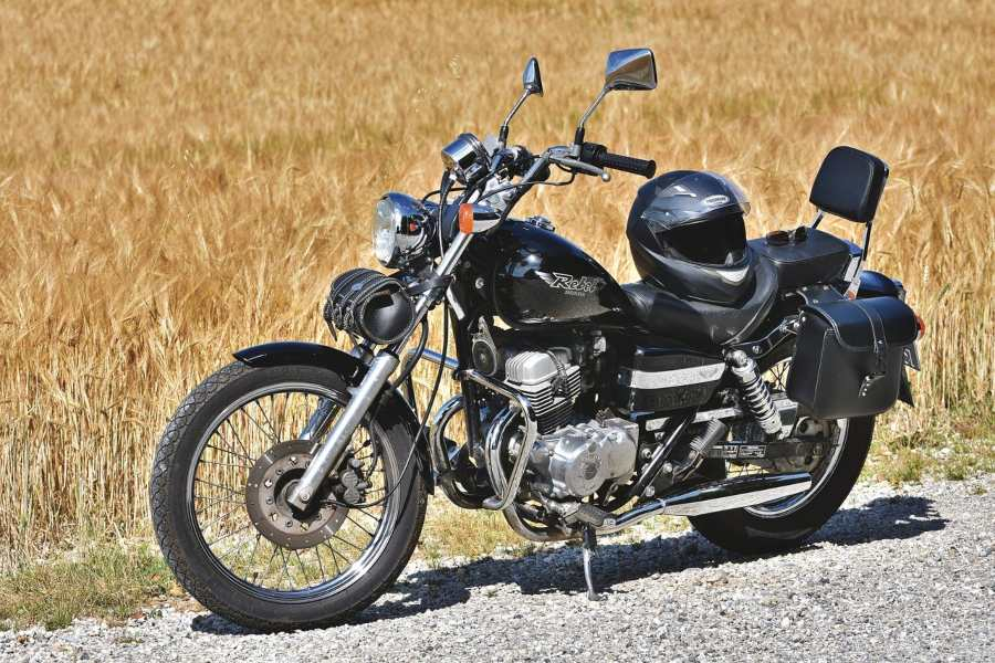 Motorcycle waiting for roadside assistance